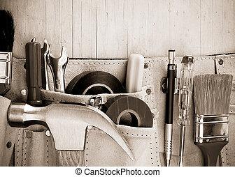 legno, costruzione, attrezzi, fondo, cintura