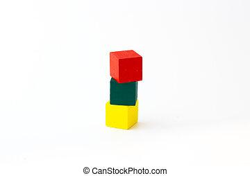 legno, costruzione, bianco, blocchi giocattolo, fondo
