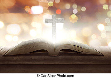 legno, croce, bibbia, santo, aperto, mezzo