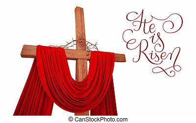 legno, croce, spine, lettere, cristiano, sorto, lui, corona