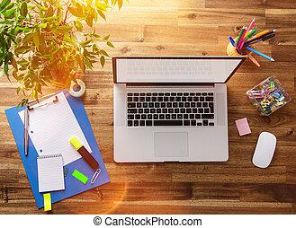legno, desk., posto lavoro, ufficio