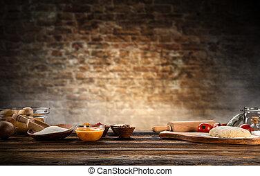 legno, disposto, cottura, tavola, ingredienti
