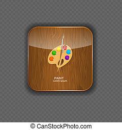 legno, domanda, icone, illustrazione, vernice, vettore
