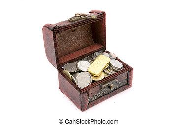 legno, dorato, torace, monete, vecchio