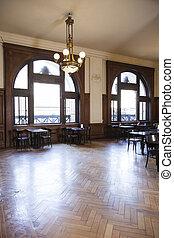 legno duro, mobilia, candeliere, sopra, pavimento