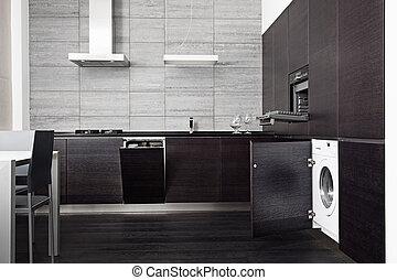 legno duro, tecnica, domestico, parte, nero, build-in, cucina
