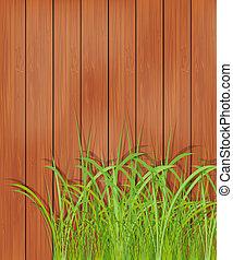 legno, erba, verde, recinto