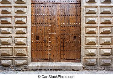legno, facciata, pietra, porta, vecchio