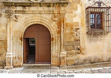 legno, facciata, pietra, vecchio, porta