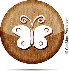 legno, farfalla, icona, vettore