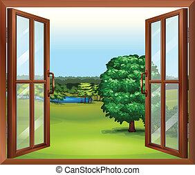 legno, finestra, aperto