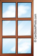 legno, finestra, glasspanes
