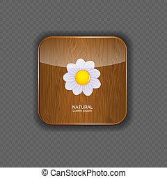 legno, fiore, icone, illustrazione, domanda, vettore