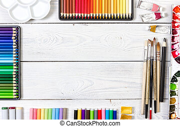 legno, fondo., bianco, artista, workspace