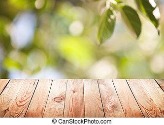 legno, fondo., bokeh, fogliame, tavola, vuoto