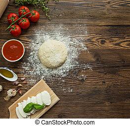 legno, fondo., pasta pizza, ingredienti
