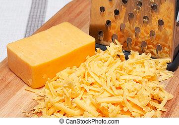 legno, formaggio, cheddar, asse, grattugiato
