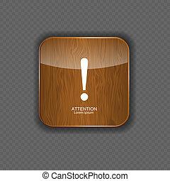 legno, icone, attenzione, illustrazione, domanda, vettore
