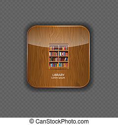 legno, icone, biblioteca, domanda, vettore, illustrazione