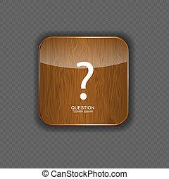 legno, icone, domanda, illustrazione, domanda, vettore