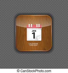legno, icone, illustrazione, domanda, vettore, calendario