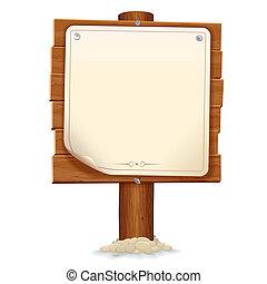 legno, immagine, segno, carta, vettore, scroll.