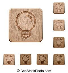 legno, lampadina, bottoni
