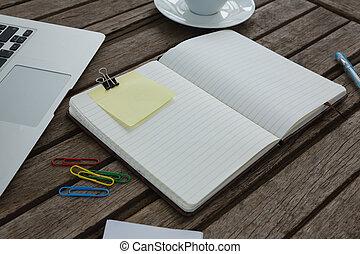 legno, laptop, aperto, organizzatore, asse