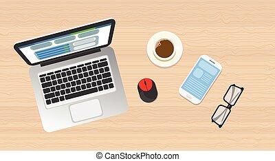 legno, laptop, vista, cima, angolo, telefono, posto lavoro, scrivania