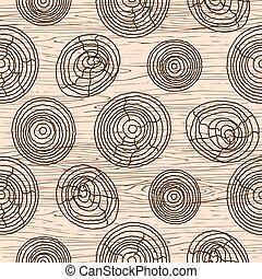 legno, legno, pattern., seamless, struttura, fondo., vettore, grano