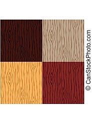 legno, legno, set., pattern., seamless, struttura, fondo., vettore, grano, illustrazione, astratto