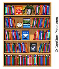 legno, libri, libreria, colorare