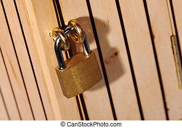 legno, lucchetto, porta