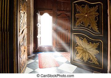 legno, luce, vecchio, raggi, porta