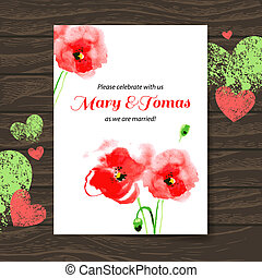legno, matrimonio, acquarello, vettore, fondo, invito, poppy., scheda