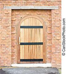 legno, mattone, porta, chiuso, wall.