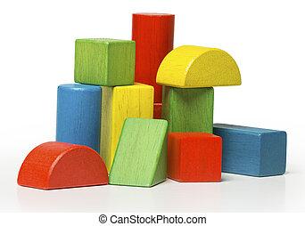 legno, mattoni, multicolor, blocchi giocattolo