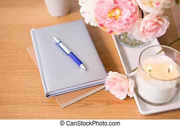 legno, mazzo, urente, tavola, candela, fiore