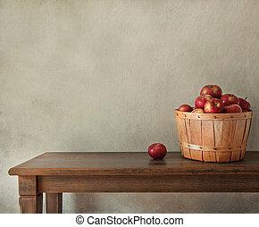 legno, mele fresche, tavola