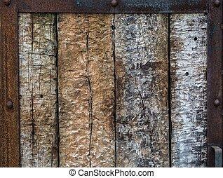 legno, metallo, cornice, porta, vecchio