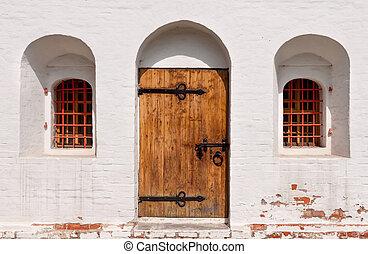 legno, monastero, antico, porta