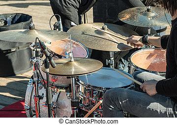 legno, musicale, drums:, appiccicare, mani