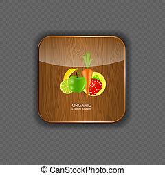legno, organico, icone, illustrazione, domanda, vettore