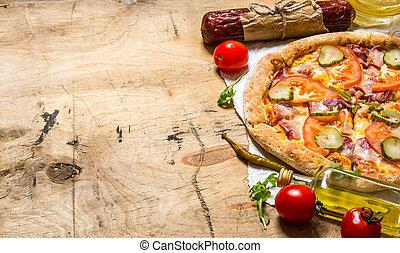 legno, paper., pancetta affumicata, salame, tavola., pizza