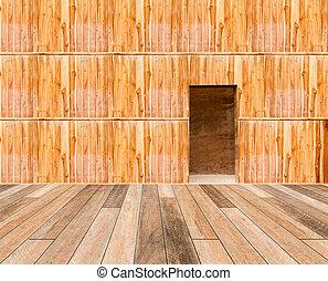 legno, parete, pavimento legno, porta, fronte