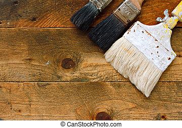 legno, pennelli, usato, vecchio, tavola