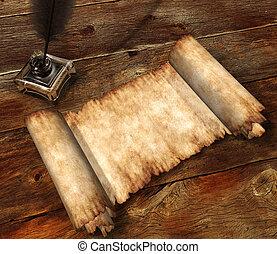 legno, pergamena, tavola, natura morta, rotolo, 3d