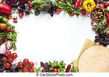 legno, pizza, asse, ingredienti