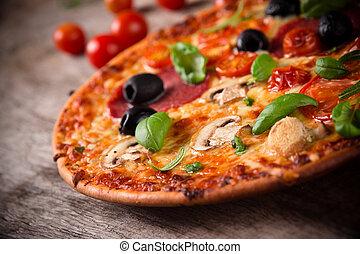 legno, pizza, saporito, fondo, italiano