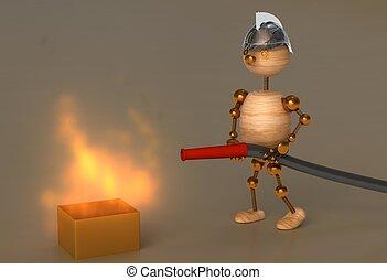 legno, pompiere, uomo